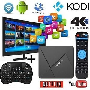 NO monthly FEES NO subscription-ANDROID TV BOX+Wireless Keyboard