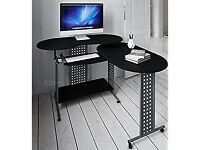 Computer Desk: Folding L Shape PC Table with Sliding Keyboard (Black)
