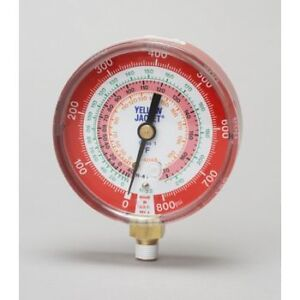 """Yellow Jacket 49137 3-1/8"""" Red Pressure, 0-800 psi, R-22/404A/41"""