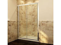 NEW BOXED SHOWER ENCLOSURE - SLIDING DOORS TO FIT 1200MM (6MM THICK) SILVER RAILS