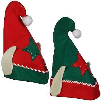 ELF HAT WITH EARS RED or GREEN 1 HAT  FITS CHILDREN & ADULTS FREE SHIPPING - Elf Hat With Ears