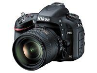 Nikon D610 with Nikon 24-85mm lens plus loads more