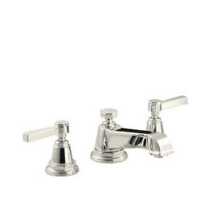 Kohler 13132-4A-SN Pinstripe Pure Widespread Lavatory Faucet Wit
