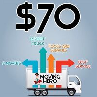 MOVING HERO COMMERCIAL RESIDENTIAL SPECIALTY MOVERS $70hr