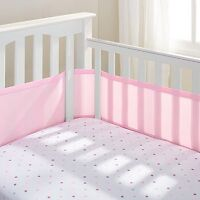 Pink Breathable Baby Mesh Bumper Pads