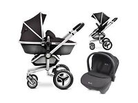 Used Silver Cross Surf 2 Travel System for sale in black - includes matching car seat & ISOFIX base