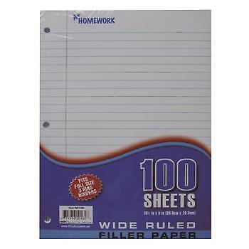 Filler Paper Wide Ruled - 100 Sheets Case Pack 36