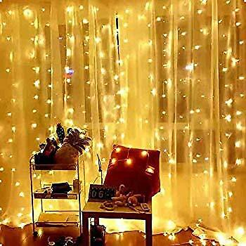 300LED / 10ft Curtain Fairy Hanging String Lights LED Home Wedding Party 8 Modes ()