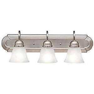 Livex Lighting 1073-91 Home Basics 3 Light Vanity Brushed Nickel with White Alabaster Glass by Livex Lighting NEW