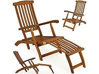 WOODEN GARDEN PATIO SET (chairs, recliner & table)