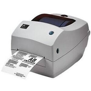 Zebra TLP 2844 thermal label printer with a roll of 4x6 labels