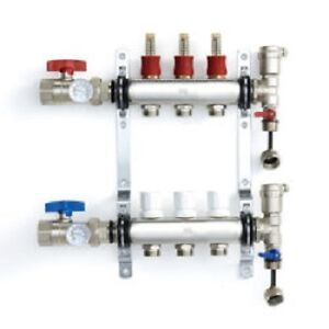 Stainless Steel Radiant Heat Manifold Set With 1/2″ PEX Adapters
