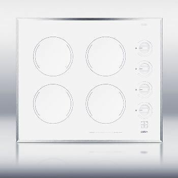 24 Inch Wide 4-Burner Electric Cooktop Ceramic Glass Finish - White
