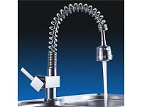 Brand New Boxed Modern Style Chrome Kitchen Sink Mixer Swan Tap Pull Out
