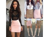 womans leather skirts zip back s m l xl new