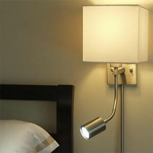 Gen-lite Wall lamp with adjustable LED reading light- set of 2
