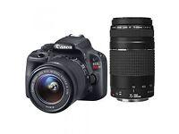 Canon EOS 100d digital SLR camera with 2 lens