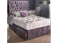 Double Crush Velvet Divan Bed With mattress,headboard and drawers