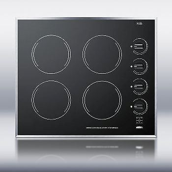 24 Inch Wide 4-Burner Electric Cooktop Ceramic Glass Finish - Black