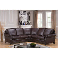Top Grain Leather Sectional Sofa Sectionnel  Cuir Brun
