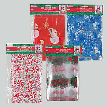Christmas Cello Bag for Gift Baskets 2 pk