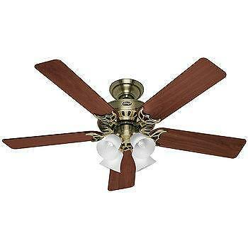 52 Antique Brass Ceiling Fan EBay
