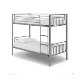 Bunk Bed, Metal Bed, Silver, Padded, Mattress, Single Bed, X2, Silver, White, quality, frame