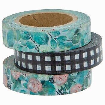 3 Rolls Floral Buffalo Check Washi Tape Decorative Planner Papercraft Bujo