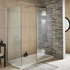 Premier Wet Room Screen 1850mm x 800mm Wide with Support Bar - 8mm Glass Brand new & boxed