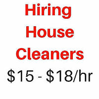 Hiring House Cleaners  $16 - $18/hr