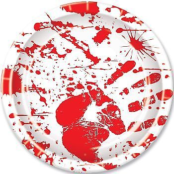 Bloody Handprints 9 Inch Paper Plates Slaughter House Halloween Party - Halloween Handprints