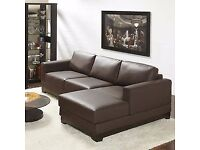 brown leather corner sofa and chair 2nd hand