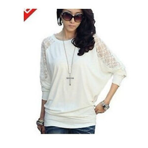 Womens Ladies Lace Long Sleeve Casual Loose Batwing Dolman Top T-Shirt Hot