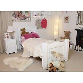 White Bed, Cabinet & Book Shelf