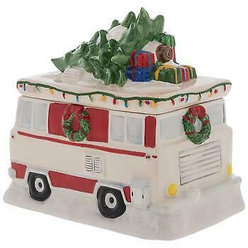 Blue Sky Motorhome Holiday Travel RV w Christmas Tree Ceramic Cookie Jar