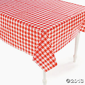 Plastic Red And White Checkered Tablecloth (26/1620)