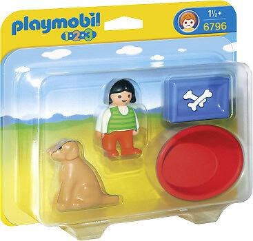 Playmobil 123 Ref 6796 Niña con Perro y Accesorios, Animales, Niños,NUEVO