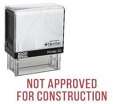 Not Approved For Construction Office Self Inking Rubber Stamp - Red Ink E-5753