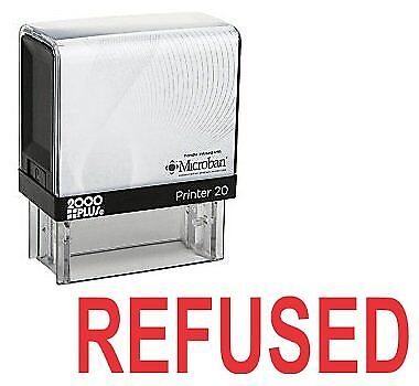 REFUSED Office Self Inking Rubber Stamp - Red Ink (E-5602)