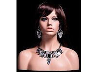 FIBERGLASS HEAD AND SHOULDERS HALF BUST FEMALE MANNEQUINS IN BLACK, MIXED RACE, & WHITE