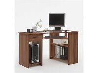 Computer PC Desk SHARPE Walnut Wood
