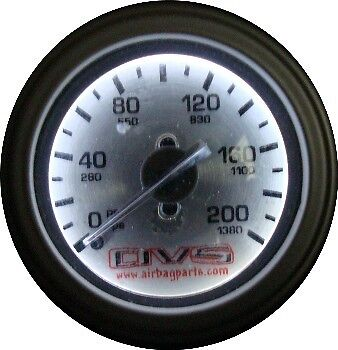 Avs Silver Faced 200 Psi Single Needle Gauge With Led Air Ride Bagged