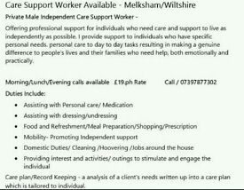 Care support Worker Available- Melksham/Wiltshire