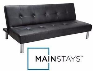 """USED MAINSTAYS FAUX LEATHER FUTON Dimensions: 7"""" x 67¾"""" x 39½"""" BLACK SOFA BED FURNITURE HOME - LIVING ROOM  83163329"""