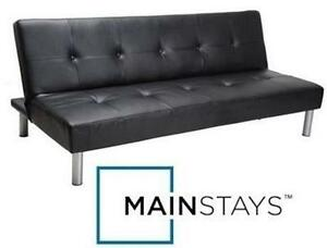 "USED MAINSTAYS FAUX LEATHER FUTON Dimensions: 7"" x 67¾"" x 39½"" - BLACK - SOFA BED - FURNITURE - HOME - LIVING ROOM"