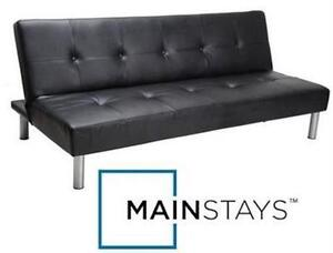 """USED MAINSTAYS FAUX LEATHER FUTON Dimensions: 7"""" x 67¾"""" x 39½"""" - BLACK - SOFA BED FURNITURE HOME LIVING ROOM  80014654"""