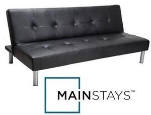 """USED MAINSTAYS FAUX LEATHER FUTON Dimensions: 7"""" x 67¾"""" x 39½"""" - BLACK - SOFA BED - FURNITURE - HOME - LIVING ROOM"""