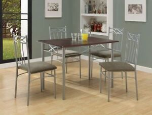 HALIFAX ENS DINING ROOM - 5PCS / CAPPUCCINO / METAL SILVER