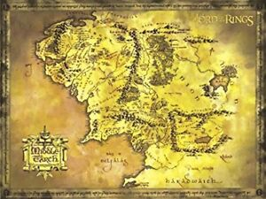 The Lord of the Rings (Hobbit) Map of Middle Earth movie poster