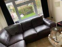 Purple big corner sofa